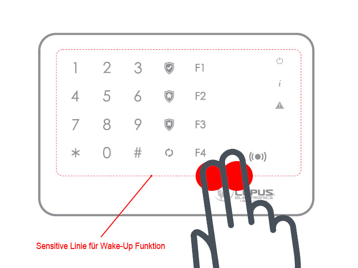 outdoorkeypad wakeup jpg after you have quit the stand by mode you can enter your pin code and control your alarm panel via the outdoor keypad
